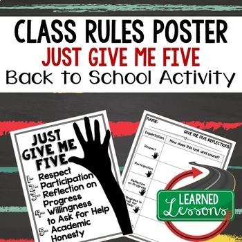 Back To School Rules & Expectations JUST GIVE ME FIVE Poster & Reflection