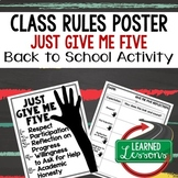 Back To School Rules & Expectations JUST GIVE ME FIVE Post