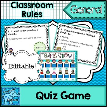 """""""Back To School Rules!"""" The Game Show Game {Editable}"""