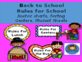 Back To School Rules for School Anchor Charts, Sorting Cen