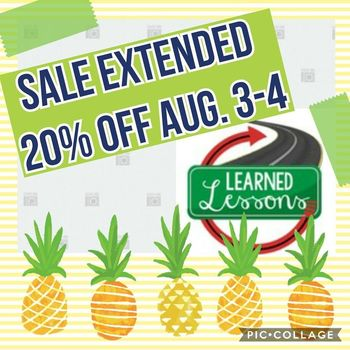 Back To School Sale EXTENDED 20% OFF August 3-4