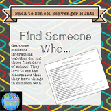 Find Someone Who: Back to School Scavenger Hunt