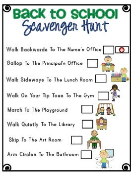 Back To School Scavenger Hunt Incorporating Motor Skills