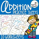 Back To School School Supplies Addition Practice Sheets