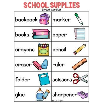 Back To School: School Supplies Write the Room
