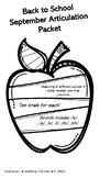 Back To School Articulation Packet: /k/, /g/, /s/, /l/, /th/, /sh/ all positions