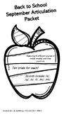 Back To School Articulation Packet: /k/, /g/, /s/, /l/, /t