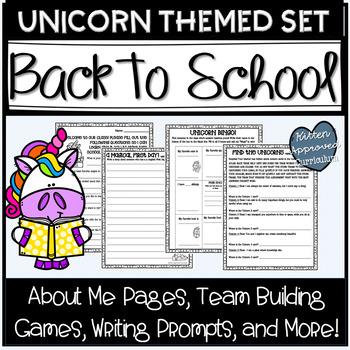 Back To School Activities Unicorn Theme