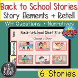 Back To School Short Stories Story Elements and Retell BOO