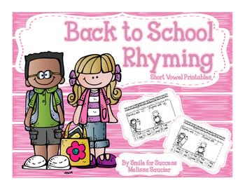 Back To School Short Vowel Rhyming! {Cut & Pastes}