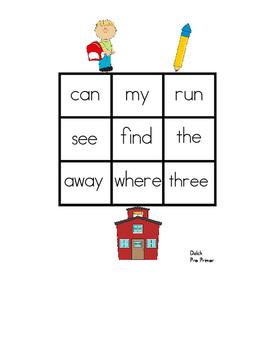 Back To School Sight Word Bingo