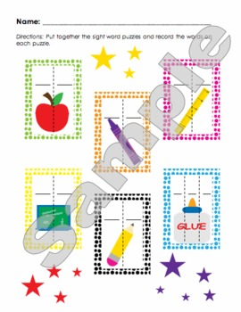 Back To School Sight Word Puzzles