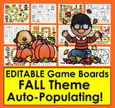 Editable Sight Word Game Boards Just Type Items Once!  Fall Theme Set 2