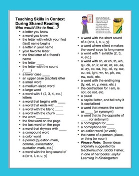 Shared Reading - Skills in Context During Shared Reading