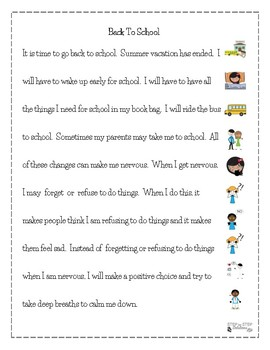 Back To School:  Social Stories For Students With Autism