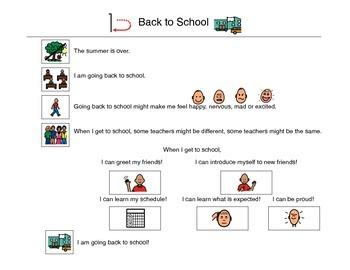 Back To School, Social Story - VISUAL
