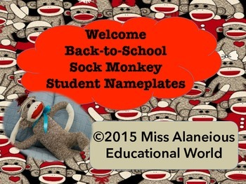 Back-To-School: Sock Monkey Student Name Plates
