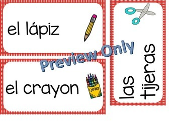 Back To School ~ Spanish ~ Vocabulary Word Cards