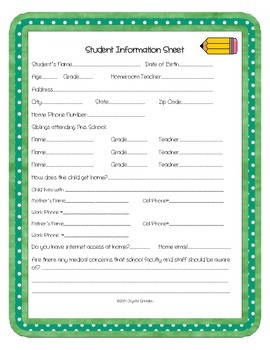 Back To School Special Education Forms