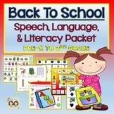 Back To School Speech, Language, & Literacy Themed Unit- Pre-K to 2nd Grade