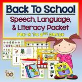 Back To School Speech, Language, & Literacy Themed Unit- Pre-K to 2nd Grade