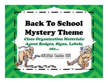 Back To School Spy/Agent Theme Organizational Materials