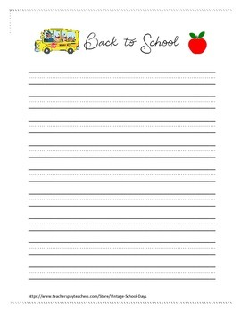 Back To School Stationary Handwriting Paper Journal
