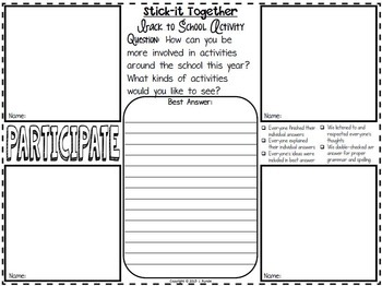 Back To School Activity:  Stick-It-Together