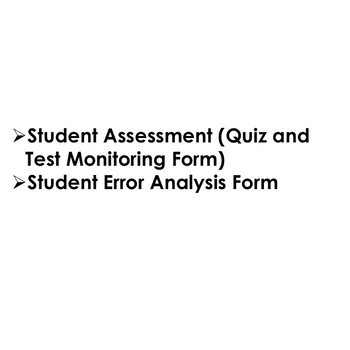 Back To School Student Assessment Analysis and Error Analysis for Tests-Quizzes