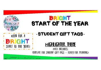 Back To School Student Gift Tag Free - Highlighter Template with Rainbow Design.