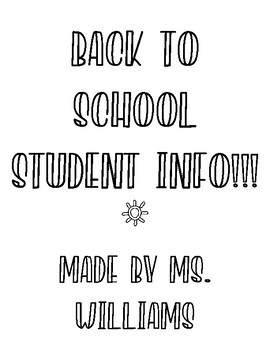 Back To School Student Info!!!