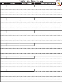 Back To School Student Information and Teacher-Home Connection forms/log