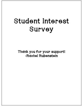 Back-To-School: Student Interest Inventory