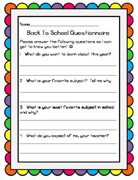 Back To School Student Questionnaire Freebie