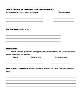 Back-To-School - Student Resume Activity