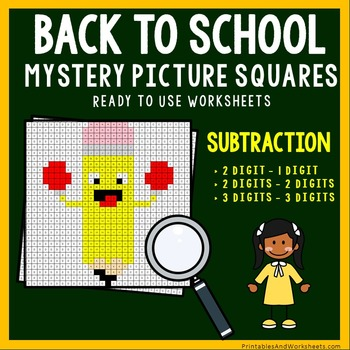 Back To School Subtraction Coloring Worksheets
