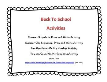 Back To School Summer Snapshots Activities