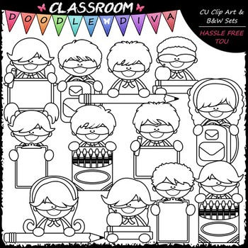 Back To School Superhero Topper Kids Clip Art - Clip Art & B&W Set