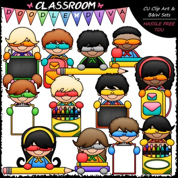 Back To School Superhero Topper Kids Clip Art - Clip Art & B&W Set