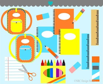 School supplies clipart commercial use