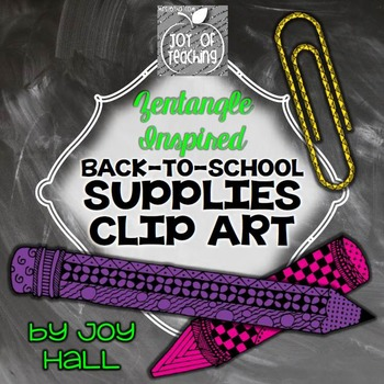 Back To School Supplies Hand Drawn Clip Art - Zentangle Inspired