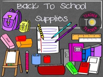 Back To School Supplies  {TeacherToTeacher Clipart}
