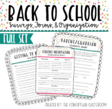Back To School Forms with Parent and Student Surveys
