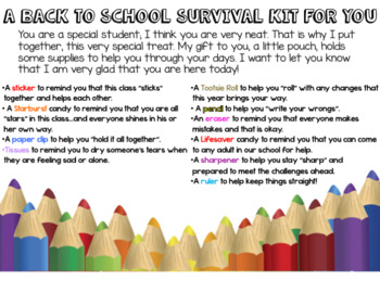 Back To School Survival Kit: EDITABLE
