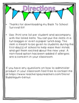 Back To School Survival Kit {Goodie Bag for Students}
