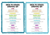 Back To School Survival Kit for Students