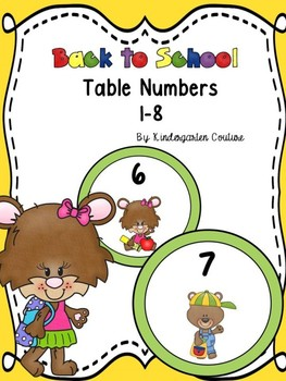 Back To School Table Numbers 1-8