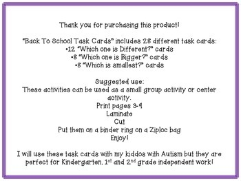 Back To School Task Cards