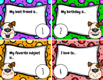 Back To School Task Cards- Getting To Know You!