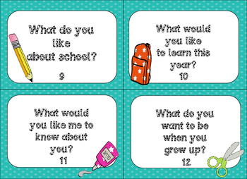 Back To School Task Cards:  Getting to Know You!